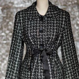 Mac & Jac black/gray tweed jacket with ribbon